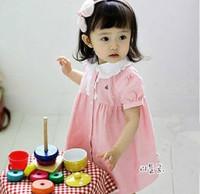 2013 Summer cotton dresses girls short sleeve dress Cute Cartoon baby fashion wear lacework clothing 5pcs  630245J