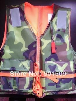 waterproof adult beach camouflage life jacket life vest life jacket  with Lifesaving whistle