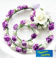 The Bride Girl Part Performance Hair Accessory Purple Garland Hand Flower Neck Flower Set  Min Order $15