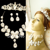 Free Shipping Wedding Bride Jewelry Three Pieces Set Crystal Sparkling Earrings Necklace Crown  Min Order $15