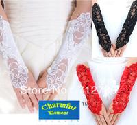 Free Shipping 2014 New Bride Dress Red Lace Satin Long Design Elastic Wedding Fingerless Gloves for girls  Min Order $15