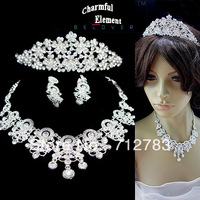 Free Shipping Wedding Bridal Accessories Sparkling Rhinestone Earrings Necklace Crown Three Pieces Set 45 Min Order $15