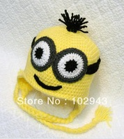 """Despicable Me""Crochet Handmade Baby Boy Animal Hat with Glasses in Yellow and Black for Christmas Gift The Minions Hat"