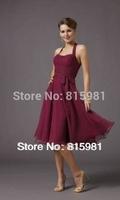 2014 Halter Women Dresses Girls Knee-Length Bridesmaid Dress Bridal Gown SIZE XS S M L XL XXL XXXL XXXXL