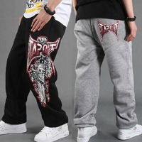 Men's Sport Pants HipHop Designer Brand Cotton Fashion Basketball SweatPants Hip-Hop Print Rhino Trouser For Man Black/Gray