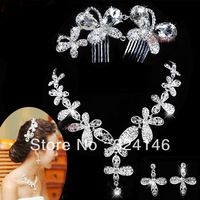 Free shipping crystal bridal jewelry sets butterfly tiara cheap jewelry wedding accessory