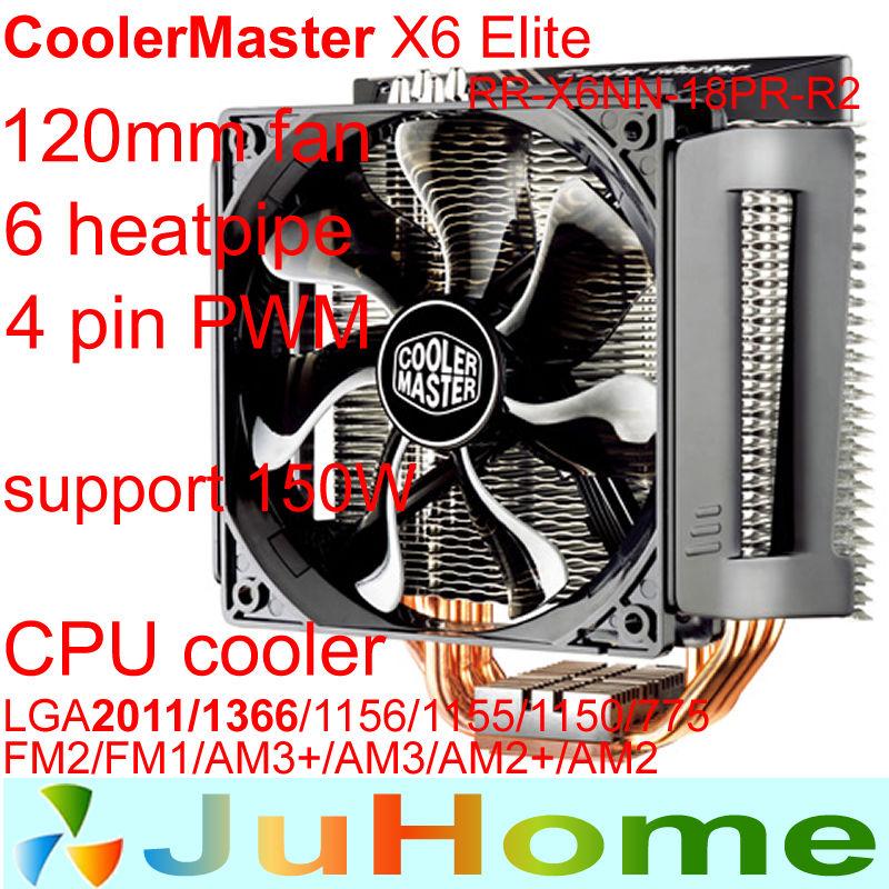12cm fan 4pin PWM 6 heatpipe copper Intel LGA2011/1156/1155/775 AMD FM1/AM3+/AM2+ CPU cooler CPU fan CoolerMaster X6-Elite(China (Mainland))
