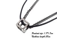 New 2013 Fashion P508 Leather pendants necklaces,mens charm choker Cube metal pendants,men jewelry,handmade jewelry