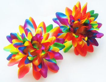 4 silk Dahlia heads - Artificial Flower   4 inches