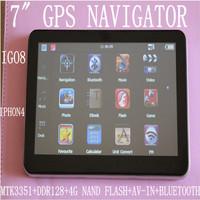 "FREE SHIPPING 7"" GPS NAVIGATOR CE6.0 MTK 3351 CPU 533MHZ ROM128M av-in BLUETOOTH 4GB FM MULTI-LANGUAGE  IGO8 NAVITEL"