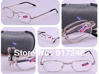 12pcs/lot! Fashion Gifts Love Folding Presbyopia Glasses+2.5 Metal Reading Glasses With Case Cheap Free Shipping