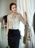 Free shipping Women's Blouses Red/White Dot Blouse Shirt for Women Chiffon White Ruffle Front Blouse Plus Size Long Sleeve Shirt
