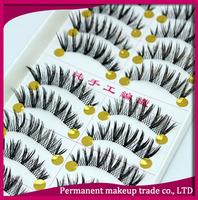 Handmade false eyelashes natural cross dense natural lips lengthen transparent 168