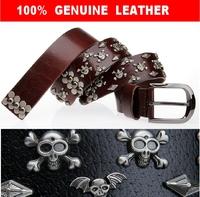 New 2014 100% Genuine Leather  Man Vintage Punk Skull Rivet Belt  Male Retro HipHop Pin Buckle Male Strap Cinto Ceinture TBT0036
