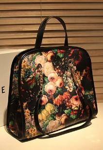 Women's handbag vintage flower oil painting bag with chain handbag shoulder bag for woman gift