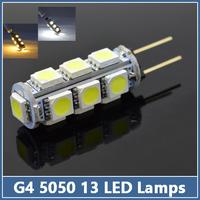 10 pcs Mini G4 13 LED lamps SMD 5050 3W Corn Crystal Chandelier Spotlight Pendant DC12V refrigerator light Indicator Desk Bulb