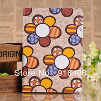 New arrival High Quality cute holder lovely flower leather case skin cover for ipad mini with freeshipping