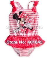 2014 new girl swimwear one piece bikini minnie design