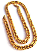 """Noble men's 24k yellow solid gold filled jewellery necklace chain 19.6"""" 500mm"""