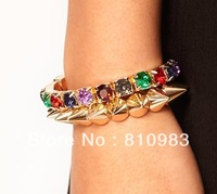 Latest jewelry bracelet 2013 fake diamond spike bracelet set free shipping