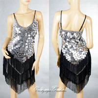 Free Shipping Mutipal Colors  Club Cocktail Party Latin&Ballroom Dance  Sequin Fringe City Dress 1256
