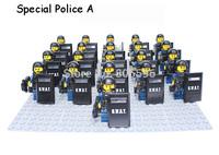 21pcs/lot SWAT Special Police Set Tactical Ops Minifigure soldier compatible lego Building Block Brick accessory Enlighten