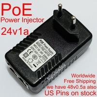 24V1A PoE Power Injector,PoE Power Supply,Power Over Ethernet Adapter,EU Plug