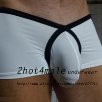 2pcs / lot Men's Sexy Soft Silky Low-rise Boxer M / L
