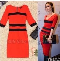 Victoria Beckhams New Star Same Paragraph V-Neck Slim Waist Knit Cotton Sleeve Pencil Dress !Free Shipping