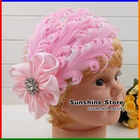 Sunshine store #2B2235 retail one piece pink&white headwear girls baby headband with diamond&flower feather headband free CPAM
