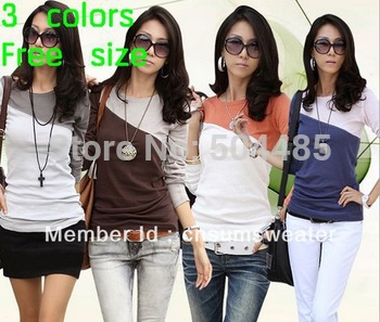[C425] 2013 Hot! 100% cotton fashion long sleeve sexy split joint ladies t-shirt Free shipping