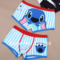Free shipping High quality 100% cotton cartoon men's Boxer / men underwear  Lilo & Stitch