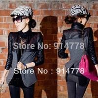 free shipping 2014 women's spring patchwork leather short design cotton-padded woolen outerwear elegant slim suit M/L/XL/XXL