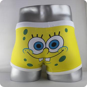 Free shipping High quality 100% cotton cartoon men's Boxer lover underwear / men underwear  SpongeBob Yellow