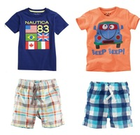 Boy's clothing sets Children's clothing sets baby Flag &car cartoon T-shirts+ plaid pants Baby short-sleeve sets Freeshipping