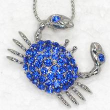 Wholesale 12piece/lot Sapphire Crystal Rhinestone Crab Pendant Necklaces Jewelry F047(China (Mainland))
