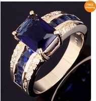 Jewellery blue sapphire  men 's  10KTyellow Gold Filled Ring  for gift  Size10 1pc  freeshipping