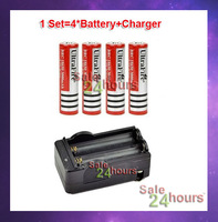FBig Discount,4pcs+1charger ultrafire 18650 3.7V Rechargeable Battery 3000mAh for LED Flashlight,Free Shipping