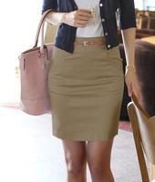 2014 New Fashion Women's Solid Cotton Pockets Work Skirts Plus Size Medium Waist Slim Hip Pencil skirt