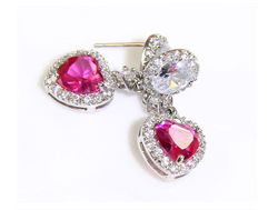 Free shipping wedding bride authentic beautiful ruby noble fashion 925 sterling silver heart pendant(China (Mainland))