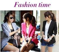 Free Shipping 2013 Women's Fashion Basic Jacket Tunic Foldable sleeve Coat Candy Colors Cardigan One Button V neck small Blazer
