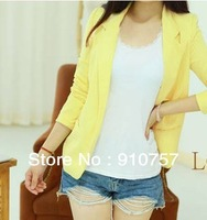 The spring and autumn period and the new joker leisure show thin small candy color long sleeve jacket