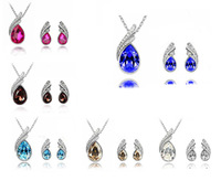 S022 Korea White Gold Plated drop Necklace+ stud Earrings Make With Elements high-grade Crystal Jewelry Sets Free Shipping