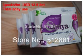 Shuya Sanitary napkins Day Use 240mm Active Oxygen Negative lon Far -IR Anion 3packs/Lot