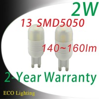 220V~240V COB 13 SMD 5050 2W G9 LED lights bulb Ceramic SMD 5050 G9 led lamps 2W
