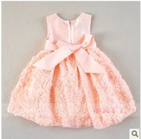 Retail baby girls summer princess dress kids formal dress beautiful wedding dress children short sleeve dress
