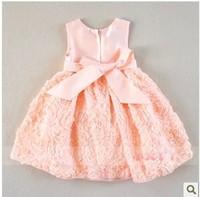 Retail baby girls summer princess dress kids formal dress beautiful wedding dress children short sleeve dress