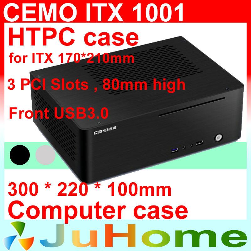 HTPC ITX Mini case, USB3.0, 3.5'' HDD, 3 PCI slots, all-aluminum computer case, mini computer, Multimedia, CEMO 1001, 2400 2600(China (Mainland))