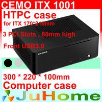 HTPC ITX Mini case, USB3.0, 3.5'' HDD, 3 PCI slots, all-aluminum computer case, mini computer, Multimedia, CEMO 1001, 2400 2600