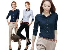 2013 spring new Slim models increase code casual shirt long-sleeved shirt Korean OL female